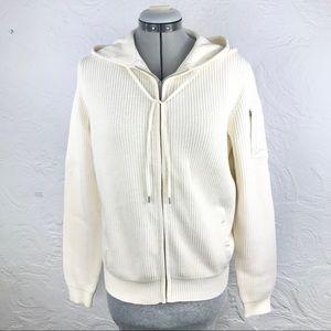 Lauren Active Ralph Lauren cream zip knit hoodie
